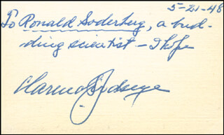 Autographs: CLARENCE F. BIRDSEYE - AUTOGRAPH NOTE SIGNED 05/21/1948