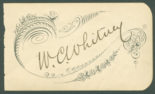 WILLIAM COLLINS WHITNEY - PRINTED CARD SIGNED IN INK