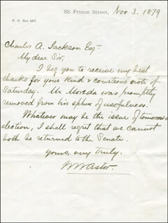 Autographs: WILLIAM WALDORF ASTOR - AUTOGRAPH LETTER SIGNED 11/03/1879