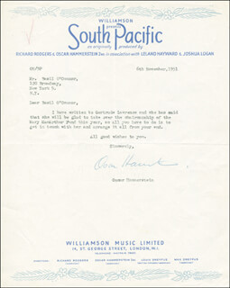 Autographs: OSCAR HAMMERSTEIN II - TYPED LETTER SIGNED 11/06/1951