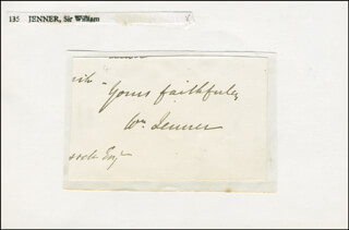 WILLIAM 1ST BARONET JENNER - AUTOGRAPH SENTIMENT SIGNED