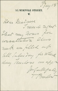 SIR THOMAS BARLOW - AUTOGRAPH LETTER SIGNED 05/13