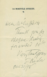 SIR THOMAS BARLOW - AUTOGRAPH LETTER SIGNED 10/30/1898
