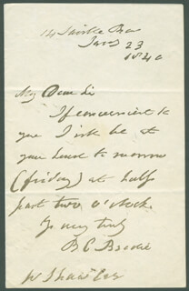 SIR BENJAMIN C. BRODIE - AUTOGRAPH LETTER SIGNED 01/23/1846