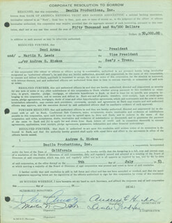 DESI ARNAZ SR. - PRINTED DOCUMENT SIGNED IN INK 07/09/1953 CO-SIGNED BY: MARTIN N. LEEDS, ANDREW G. HICKOX