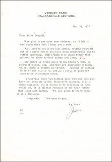 JAMES CAGNEY - TYPED LETTER SIGNED 10/18/1977