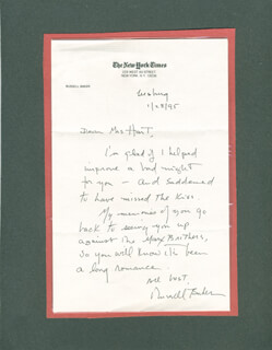 Autographs: RUSSELL W. BAKER - AUTOGRAPH LETTER SIGNED 01/28/1995