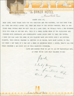 JACK NORWORTH - TYPED LETTER SIGNED 03/14/1943