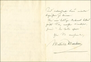 MATHILDE MARCHESI - AUTOGRAPH LETTER SIGNED 04/17/1904
