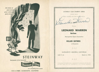 LEONARD WARREN - PROGRAM SIGNED CIRCA 1953