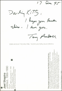 TONY RANDALL - AUTOGRAPH NOTE SIGNED 12/17/1995