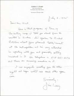 JAMES F. IVORY - AUTOGRAPH LETTER SIGNED 07/03/1995