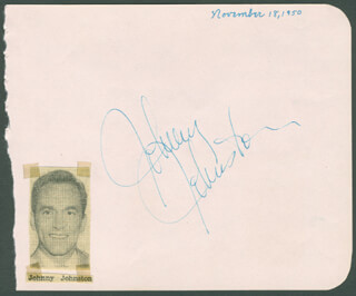 JOHNNY JOHNSTON - AUTOGRAPH CIRCA 1950