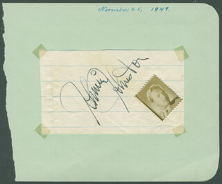 JOHNNY JOHNSTON - AUTOGRAPH CIRCA 1949