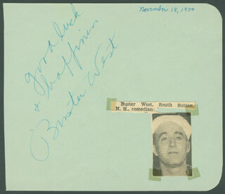 BUSTER WEST - AUTOGRAPH SENTIMENT SIGNED CIRCA 1950