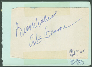 Autographs: MAYOR ABRAHAM D. BEAME - AUTOGRAPH SENTIMENT SIGNED CIRCA 1973