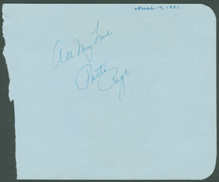 PATTI PAGE - AUTOGRAPH SENTIMENT SIGNED CIRCA 1951