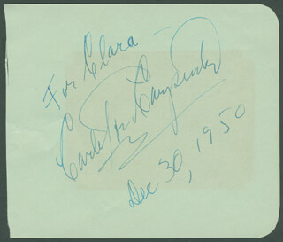 CARLETON CARPENTER - AUTOGRAPH NOTE SIGNED 12/30/1950