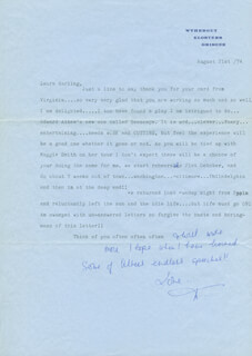 DEBORAH KERR - TYPED LETTER SIGNED 08/21/1974