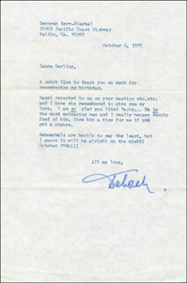 DEBORAH KERR - TYPED LETTER SIGNED 10/06/1975