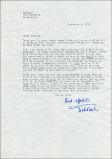 DEBORAH KERR - TYPED LETTER SIGNED 09/04/1976