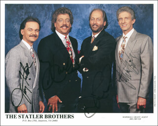 THE STATLER BROTHERS - AUTOGRAPHED SIGNED PHOTOGRAPH CO-SIGNED BY: THE STATLER BROTHERS (HAROLD REID), THE STATLER BROTHERS (PHIL BALSEY), THE STATLER BROTHERS (JIMMY FORTUNE), THE STATLER BROTHERS (DON REID)