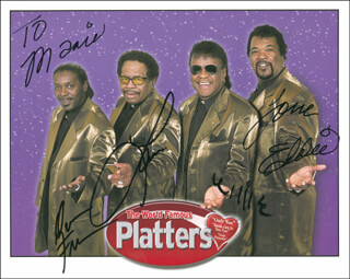 THE PLATTERS - AUTOGRAPHED INSCRIBED PHOTOGRAPH CO-SIGNED BY: THE PLATTERS (WILLIE NASH), THE PLATTERS (EDDIE STOVALL), THE PLATTERS (LAWRENCE ROOSTER LOCKARD), THE PLATTERS (DAMON FREEMAN)