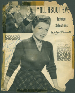 ANNE BAXTER - INSCRIBED MAGAZINE ADVERTISEMENT SIGNED