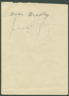 Autographs: GENERAL OMAR N. BRADLEY - SIGNATURE(S) CO-SIGNED BY: SIDNEY RICHARD YATES, BETTYE MIMS DANOFF
