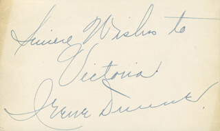 IRENE DUNNE - AUTOGRAPH NOTE SIGNED