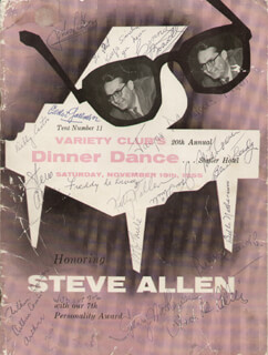 Autographs: STEVE ALLEN - PROGRAM SIGNED CIRCA 1955 CO-SIGNED BY: THE BOSWELL SISTERS (CONNEE BOSWELL), KITTY KALLEN, JAYNE MEADOWS, BOB THIELE, JEROME NATHANSON, ARTHUR CANTOR, BERNARD BUDD GRANOFF