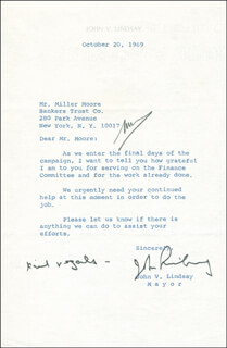 MAYOR JOHN V. LINDSAY - TYPED LETTER SIGNED 10/20/1969