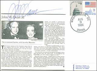 Autographs: JOHN W. DEAN - SPECIAL COVER SIGNED
