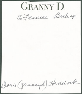 Autographs: DORIS GRANNY D HADDOCK - INSCRIBED SIGNATURE