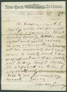 HORACE GREELEY - AUTOGRAPH LETTER SIGNED 11/19/1870