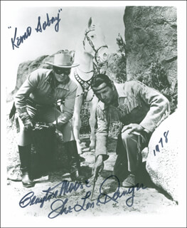 CLAYTON THE LONE RANGER MOORE - AUTOGRAPHED SIGNED PHOTOGRAPH 1978