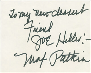 MAX PATKIN - AUTOGRAPH NOTE SIGNED