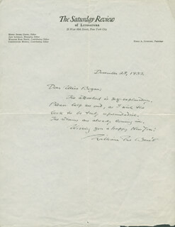 WILLIAM ROSE BENET - AUTOGRAPH LETTER SIGNED 12/28/1932