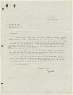 REAR ADMIRAL RICHARD E. BYRD - TYPED LETTER SIGNED 02/22/1927
