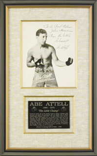 Autographs: ABE LITTLE CHAMP ATTELL - INSCRIBED PHOTOGRAPH SIGNED