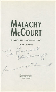 MALACHY MCCOURT - INSCRIBED BOOK PAGE SIGNED