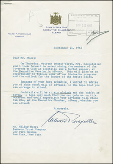 Autographs: VICE PRESIDENT NELSON A. ROCKEFELLER - TYPED LETTER SIGNED 09/21/1965