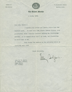 ELLERY SEDGWICK - TYPED LETTER SIGNED 03/01/1929