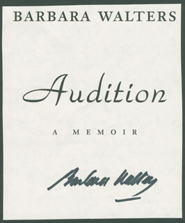 BARBARA WALTERS - BOOK PAGE SIGNED