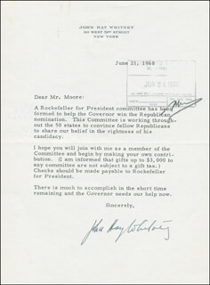 JOHN HAY WHITNEY - TYPED LETTER SIGNED 06/21/1968