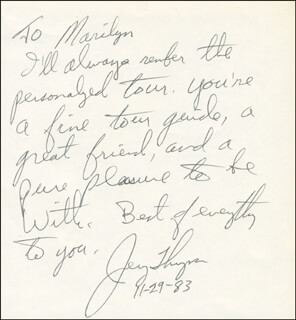 JERRY D. THOMPSON - AUTOGRAPH NOTE SIGNED 11/29/1983