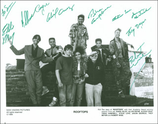 ROOFTOPS MOVIE CAST - AUTOGRAPHED INSCRIBED PHOTOGRAPH CO-SIGNED BY: ROBERT WISE, EDDIE VELEZ, ALLEN PAYNE, ALEXIS CRUZ, TISHA CAMPBELL-MARTIN, STEVE LOVE, JASON GEDRICK, TROY BEYER
