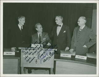 ANSWERS FOR AMERICANS TV CAST - AUTOGRAPHED INSCRIBED PHOTOGRAPH CO-SIGNED BY: DEVIN A. GARRITY, HARDY BURT, GENERAL FRANK L. HOWLEY, JOHN K. NORTON