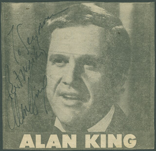 ALAN KING - INSCRIBED NEWSPAPER PHOTO SIGNED