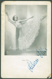 LILIAN ELLIS - PICTURE POST CARD SIGNED